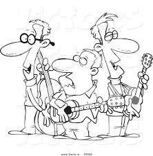 vector of a cartoon folk music band coloring page outline by