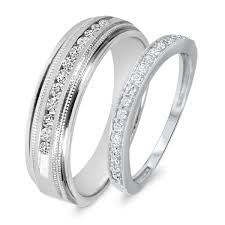 1 2 carat t w round his and hers wedding band set 14k