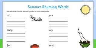 rhyming words worksheet summer seasons rhymes words