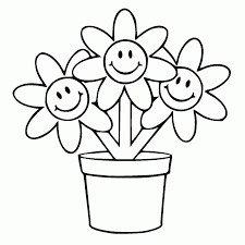 drawing simple flower pots images with colors drawing of sketch