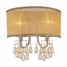 Gold Wall Sconce Candle Holder Hampton 2 Light 14 Antique Brass Crystal Wall Sconce With Gold