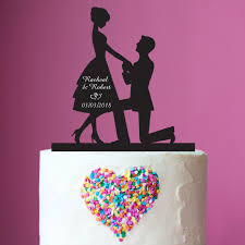 Engagement Cakes Proposal Silhouette Acrylic Wedding Cake Topper Anniversary Cake