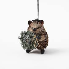 jazzy hedgehog bottle brush ornament west elm