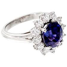 purple diamond engagement rings oval blue purple sapphire diamond halo engagement ring for sale at