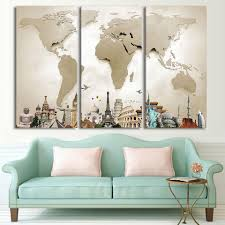world map and iconic travel monuments 3 piece canvas print