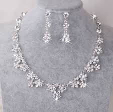 silver earrings necklace images Uk silver wedding bride crystal diamond flower necklace earrings jpg
