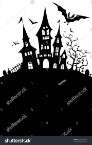vector halloween halloween design template spooky landscape castle stock vector