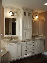 smaller area for double sinks but i like the storage cabinet in smaller area for double sinks but i like the storage cabinet in between more white bathroom