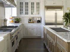 L Shaped Kitchen With Island Layout Blue Kitchen Island With Blue Striped Runner Https Www