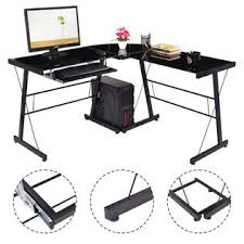 glass top l table goplus l shape computer desk pc laptop table glass top workstation