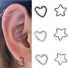 hoop earring on cartilage 1 gold silver surgical steel heart piercing hoop earring