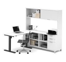 office desk with credenza premium sit stand desk with credenza u0026 hutch in white