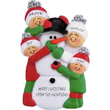 building snowman ornament family of 4