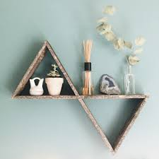 Reclaimed Wood Home Decor Double Triangle Shelf Pallet Wood Shelf Geometric Shelf