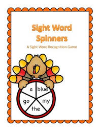 thanksgiving themed sight word spinner center pre k dolch words tpt