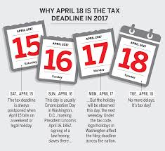 when are taxes due in 2017 not april 15