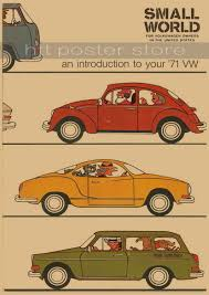 vintage classic volkswagen car vw type mini bus poster bar cafe
