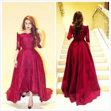 elegant red lace evening dresses with sleeves 2016 myriam fares