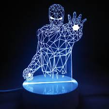 Iron Man Night Light 3d Visual Led Small Table Night Light Lamp Micro Usb Plug For Desk