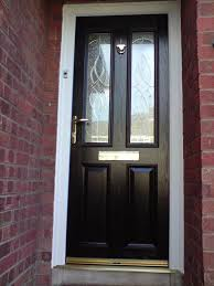 charming modern composite door design ideas with brown brick wall