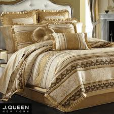 Michael Amini Bedding Clearance Brilliant Gold Comforter Sets King Jacquard Silk Bedclothes