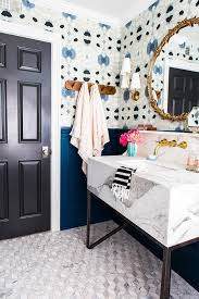 funky bathroom wallpaper ideas blue print floors door but with a not so chunky sink