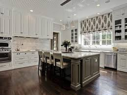 Gray Kitchen Island Reclaimed Brick Wall With Glass Cabinet Doors White Oak Rustic
