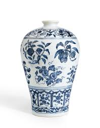 Blue And White Vase An Outstanding Blue And White Vase With Fruit Sprays Meiping