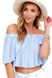 light blue off the shoulder top light blue striped top off the shoulder top crop top 34 00