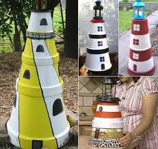 make a clay pot lighthouse completely coastal