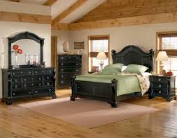 Bed Set With Drawers by Woodcrafters Heirloom Collection Poster Bedroom Set In Black With