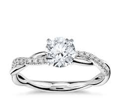 diamond ring petite twist diamond engagement ring in 14k white gold 1 10 ct