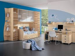 ideas simple kids rooms decor with blue wall and wooden