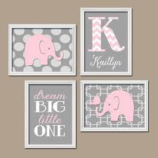 Pink Elephant Nursery Decor Elephant Nursery Pink Gray Elephant Nursery Wall