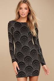 black and gold dress gold and black dress glitter print bodycon dress