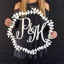 wedding backdrop initials initial wreath sign custom wooden sign initials sign