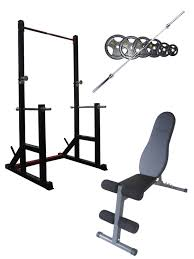squat rack fid bench and olympic bar and weights package
