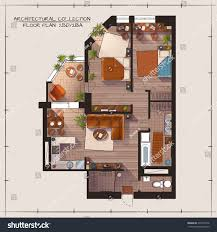 architectural color floor plan bedrooms apartment stock vector