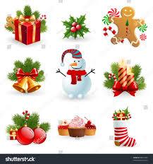 christmas object element fir tree snowman stock vector 89577400