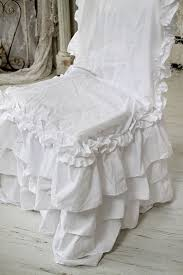 shabby chic style chair slipcover white ruffle chair pads