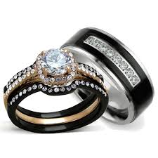 matching rings hers 4 gold and ip black matching ring set