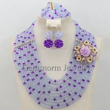 beads necklace sets images Lilac purple african party beads jewellery set purple nigerian jpg