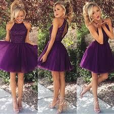 formal dress cute purple tulle a line short prom dresses