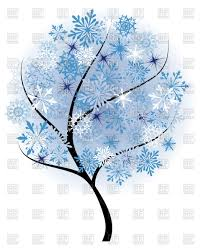 beautiful winter tree with snowflakes leaves frozen tree vector