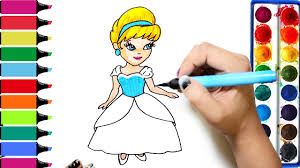 princess cinderella coloring page learn colors for girls and