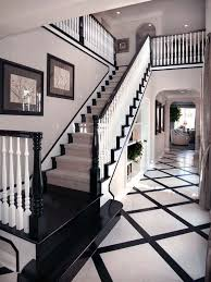 black painted handrail baseboards risers and treads