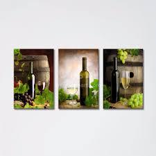 2017 3 panel wall art printed painting decor grape wine bottle