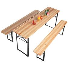 Wooden Table With Bench Goplus Op2837 3 Pcs Beer Table Bench Set Folding Wooden Top Picnic