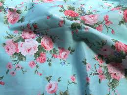 light pink rose flower cotton fabric in light aqua blue cotton