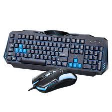 ordinateur de bureau jeux g16 jeu clavier et souris usb câble interface bleu led rétro